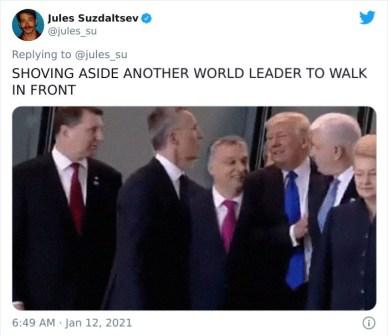 Ko je na stran potisnil drugega svetovnega voditelja, da bi sam lahko stal spredaj