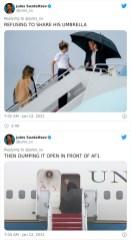 Ko je zavrnil deljenje dežnika, nato pa ga odvrgel pred vrati letala