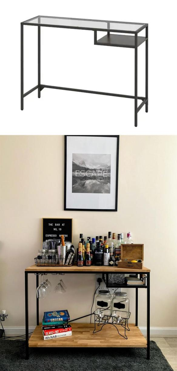 Pisarniška miza Vittsjö predelana v hišni bar Foto: Boredpanda