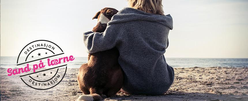 Kvinne med hund på stranden
