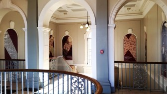 Our striking new banners on the stairs at York Explore