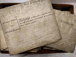 A box of early title deeds