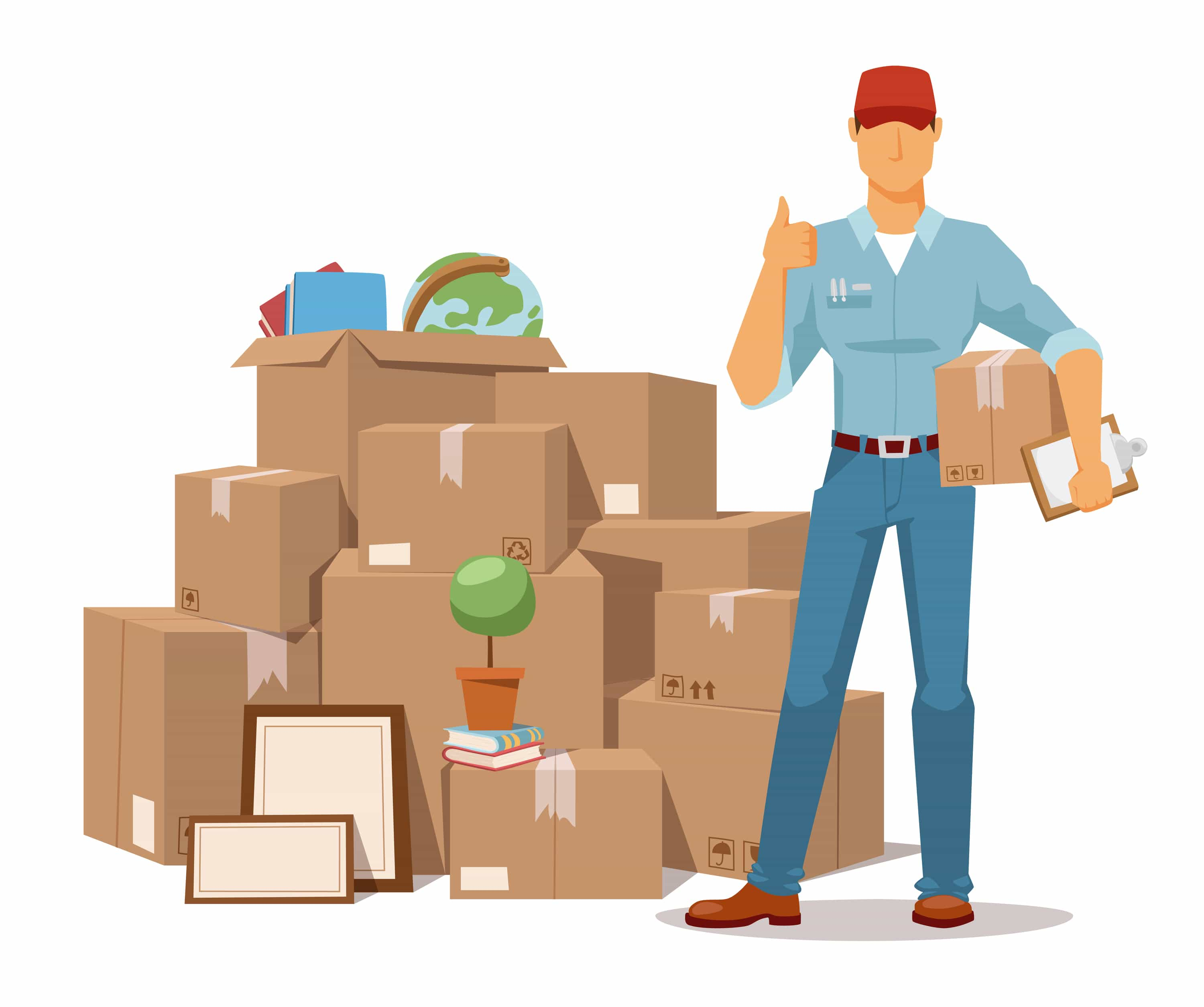 Move service man Ok hand and box vector illustration. Move box and men. Craft box isolated on background. Box for moving, open box. Move business, moving box, relocation box open. Transportation package cargo service