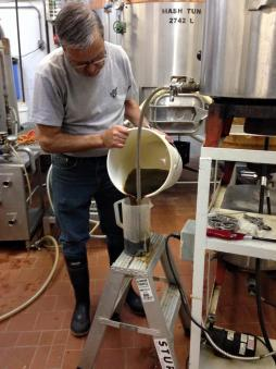 Sparging: pouring off the wort (sugared water) after boiling the malted barley.