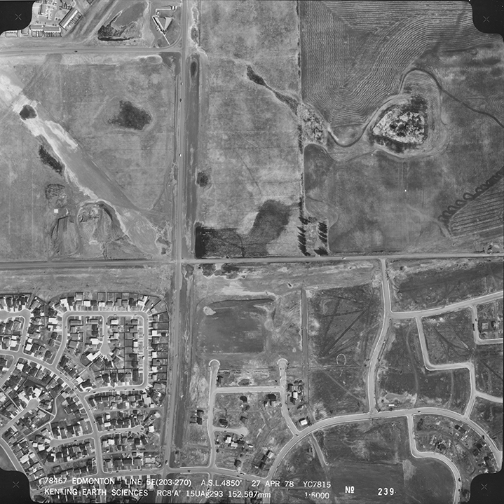 Aerial image of Mill Woods © 1978 Spartan Air Services Ltd. Image courtesy of the City of Edmonton Archives 1978 Aerial Vol 5, p. 239.
