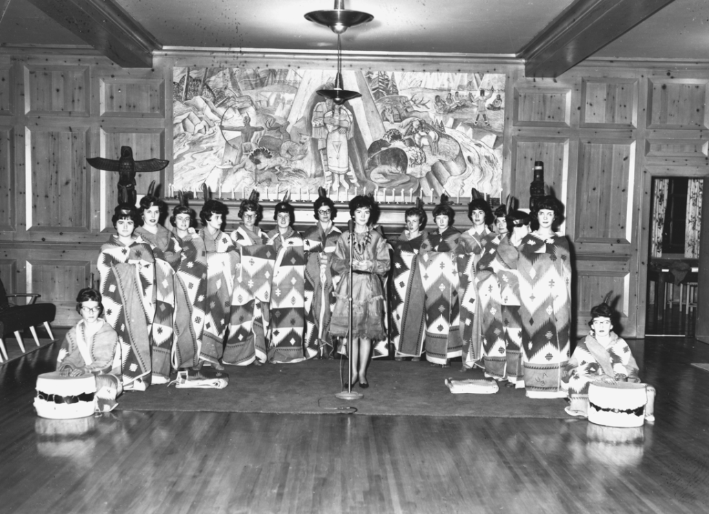 Photo of the 1962 Wauneita Society Initiation. Image courtesy of the University of Alberta Archives 69-16-55.