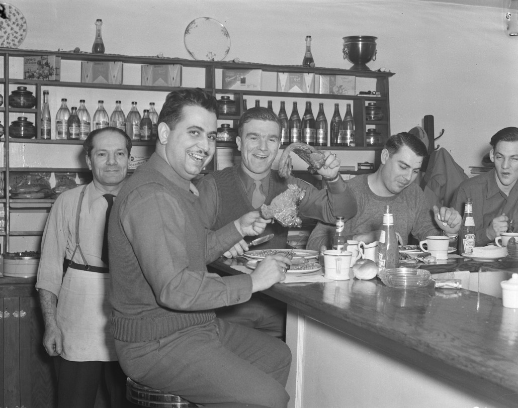 American soldiers at café eating steaks. February 12, 1944. Image courtesy of the Provincial Archives of Alberta BL696.