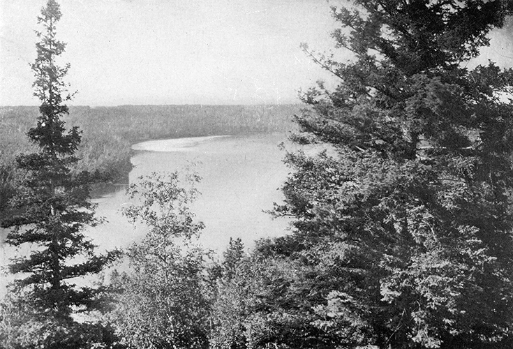 The Edmonton River Valley. North Saskatchewan River from Dowler's Hill circa 1900. Image courtesy of the City of Edmonton Archives EA-10-271.