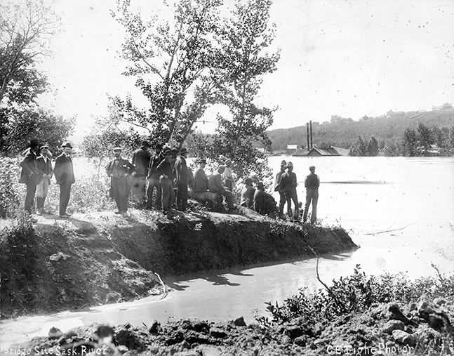 1899 North Saskatchewan River - Low Level Bridge site & Rossdale Power Plant During Flood. Image created August 18, 1899. Image courtesy of the City of Edmonton Archives EA-10-3216.