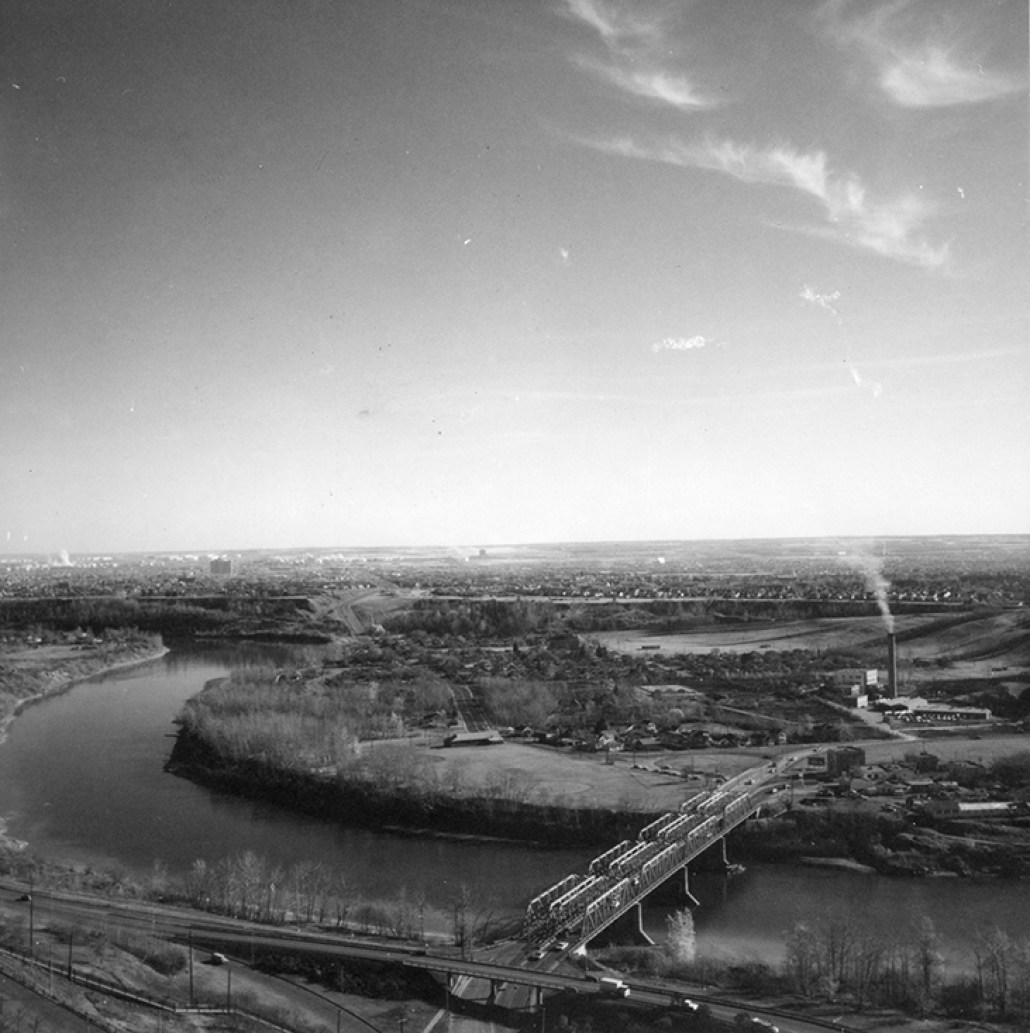 Mill Creek Incinerator in Cloverdale circa October 1968. The incinerator's tower with smoke billowing is visible to the right of the photograph. Image courtesy of the City of Edmonton Archives EA-20-6444.