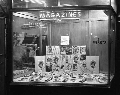 Display window, Mike's News Stand, April 17, 1947. City of Edmonton Archives, EA-600-21a