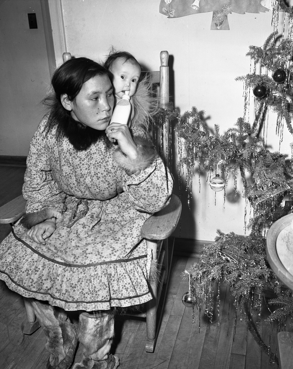 Martha Apatok and her six-month-old daughter Ida at the Camsell on December 21, 1950. City of Edmonton Archives