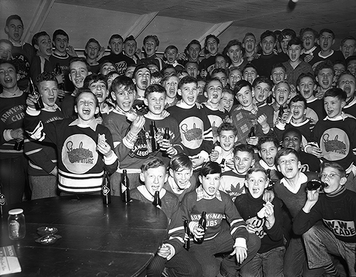 Official opening of the new clubhouse of the Maple Leaf Athletic Club (118 avenue): some of the pee-wee hockey players who attended the party. Image courtesy of the City of Edmonton Archives EA-600-764C.