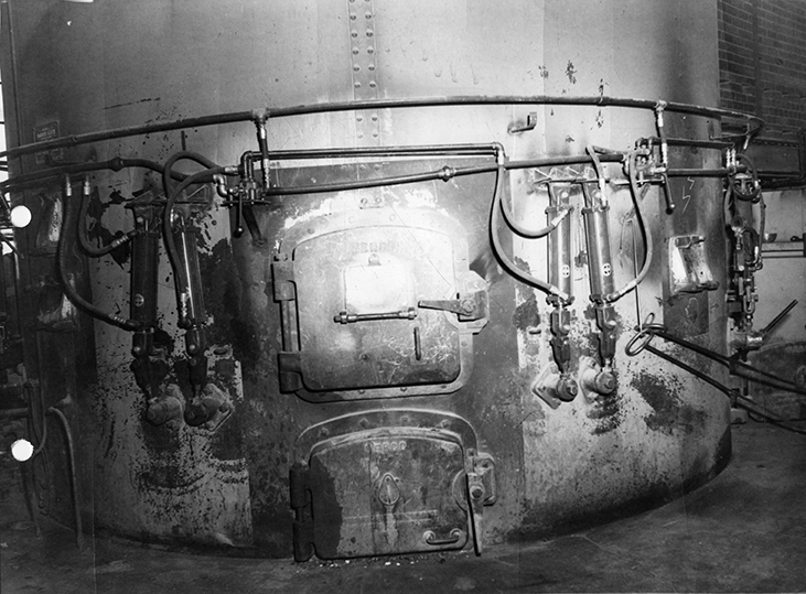 Mill Creek Incinerator, interior photograph of the hydraulic system circa 1958. Image courtesy of the City of Edmonton Archives EA-75-801.