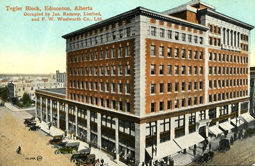 "Tegler Block, Edmonton, Alberta ca. 1912. ""Occupied by Jas. Ramsey, Limited and F.W. Woolworth Co., Ltd."" Image courtesy of the City of Edmonton Archives EA-796-3."