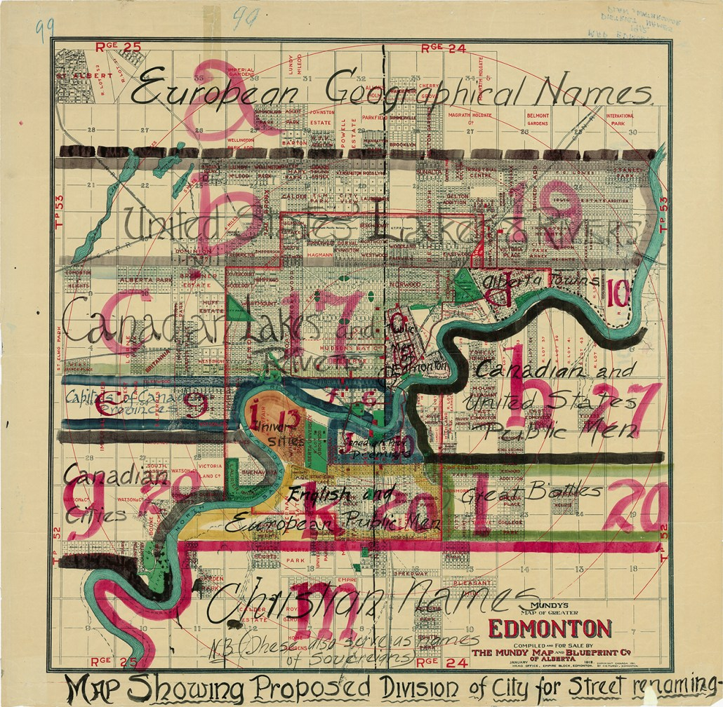 Mundy's Map of Greater Edmonton: Map Showing Proposed Division of City for Street Renaming 1912 (A map similar to the Edmonscona plan). Image courtesy of the City of Edmonton Archives EAM-138.
