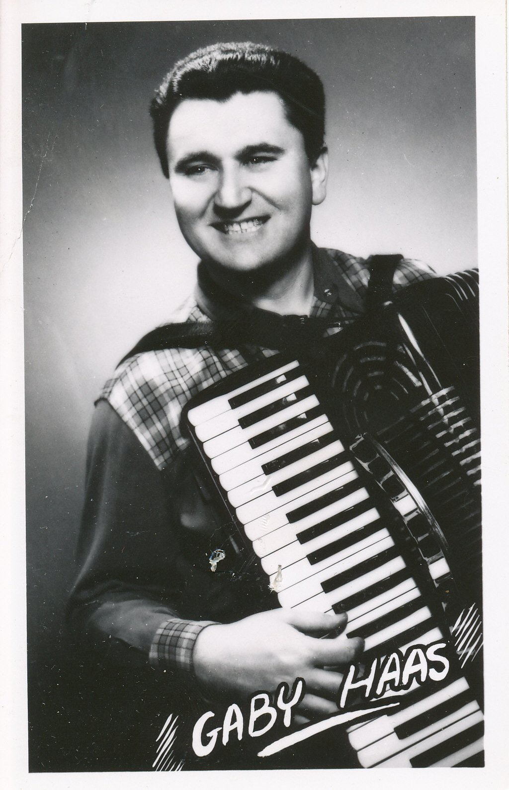 Promotional photograph of recording artist Gaby Haas on accordion, who was part of the CFRN-TV house band. Courtesy: Ed Kay © 2009 Al Girard
