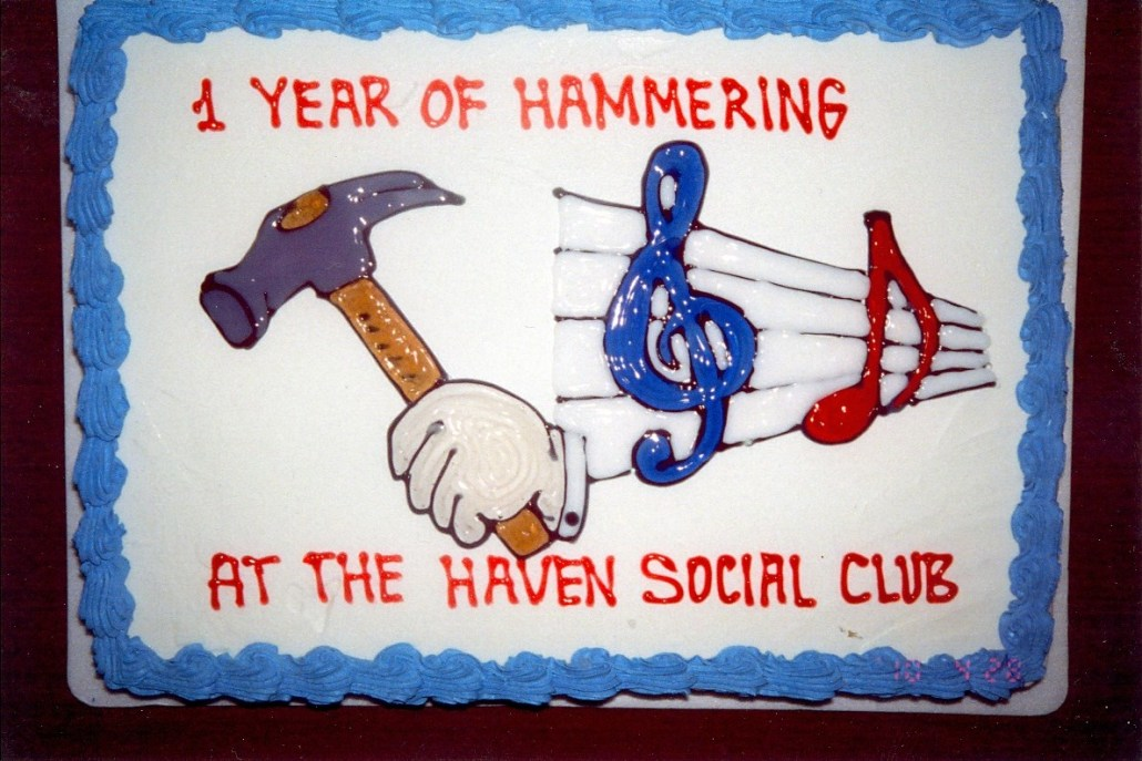 A cake celebrating the anniversary of the Haven's weekly jazz jams. Photo courtesy of Ian Morris.