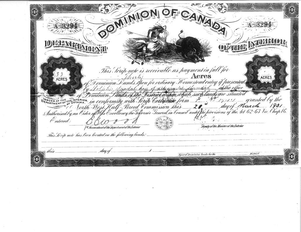 Metis Scrip for 30 acres issued March 20, 1901. Image Courtesy of the City of Edmonton archives MS-46 File 38.