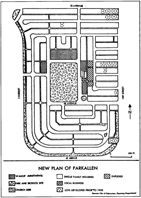 Plan of Parkallen, 1950. City of Edmonton Planning and Development.