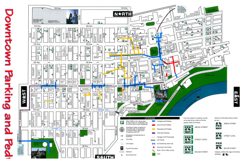Downtown Parking and Pedway Map c. 1996. Map reproduced with the permission of the Downtown Business Association. Original available at the City of Edmonton Archives Pedway Clippings File. Do not reproduce.