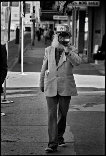 Peter Jamieson walking down 102 Street across from the Hudson' Bay store, 1978. Photo by Richard Siemens.