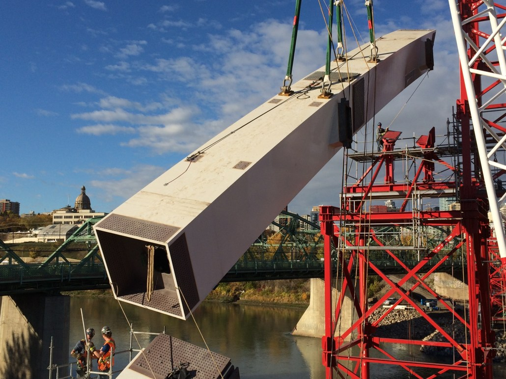 The Walterdale Bridge Project, photo circa 2015. Iron Workers from Local 720 contributed to the construction of the new bridge. Image courtesy of the Local 720 Iron Worker's Union, do not reproduce.