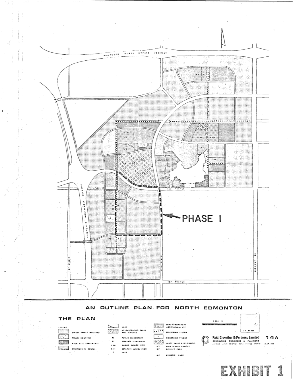 This plan shows the first phase of development as outlined in the 1972 Castle Downs Detailed Subdivision Plan. Image courtesy of the City of Edmonton Archives, do not reproduce.