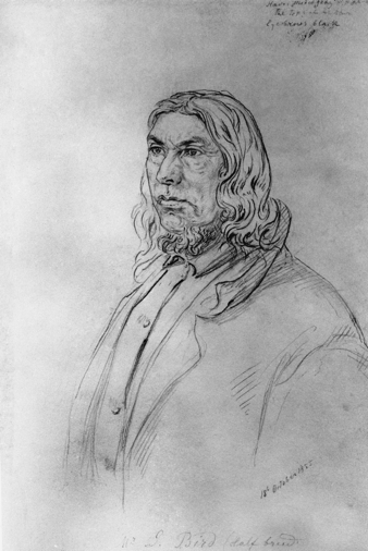 "James ""Jimmy Jock"" Bird, Blackfoot interpreter. Drawing by Sohon, Gustavus. Date: October 18, 1855. Image courtesy of the Glenbow Archives NA-360-21"