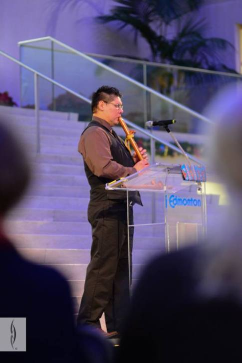Ron Walker of the Canadian Native Friendship Centre served as MC for the evening. Photo from RiSE Round Dance at City Hall. Photos courtesy of Gibby Davis Photography.