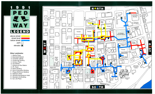 Downtown Parking and Pedway Map c. 1991, created by the City of Edmonton Planning Department. Original available at the City of Edmonton Archives Pedway Clippings File. Do not reproduce.
