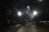 Manuka Oval's new lights from the Manuka shops.