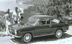 A 1965 Fiat 850 coupe.