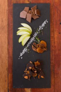 Sweets-Lindsay and Edmunds chocolate selection, almond and orange,-praline, sea salt, fresh seasonal fruit and dried fruit