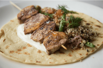 marinated-chicken-skewer-quinoa-_-bean-tabouli-walnuts-preserved-lemon-honey-and-sesame-yoghurt-2