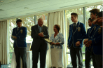 Sir Peter and Lady Cosgrove presenting an award to the Year 11 and 12 Youth Ministry Team from St Edmund's College.