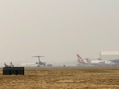 Smoke at the Canberra airport today (December 9).