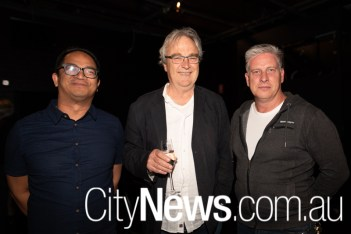 Jem Natividad, Canberra Theatre Centre's outgoing director Bruce Carmichael and Rohan Cutler