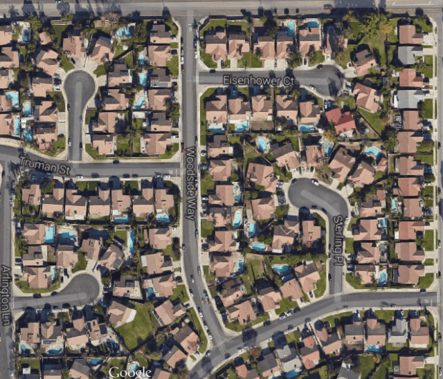 Everyone's got a pool in this southern California subdivision. Credit: Google Maps