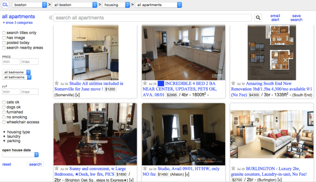 Craigslist apartments in Boston.