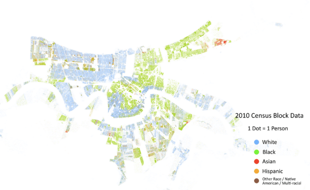 A racial dot map of metropolitan New Orleans, showing the state of segregation in 2010. Credit: Cooper Center Dot Map