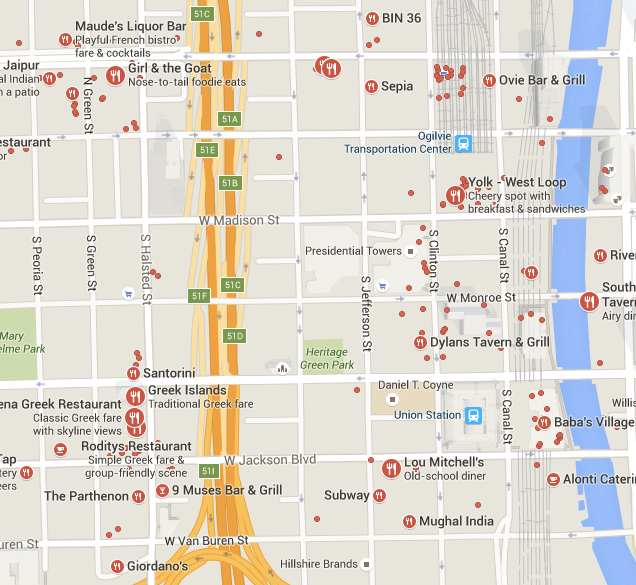 "Google results for ""restaurants"" in IDEO's West Loop Chicago neighborhood."
