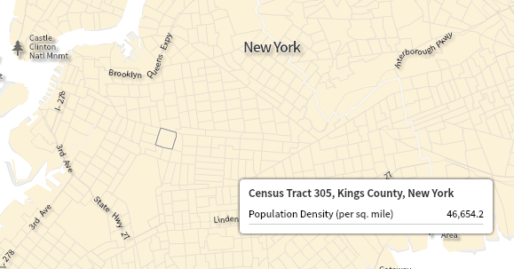 Census Tracts at the same scale in Brooklyn and suburban New Jersey. Credit: Social Explorer