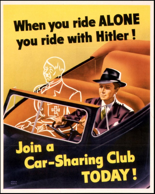 Car-Sharing Club Poster by Weimer Pursell (1943), US Government Printing Office, via Flickr (John December)