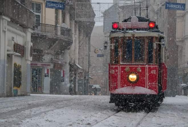 Istiklal Avenue under snow