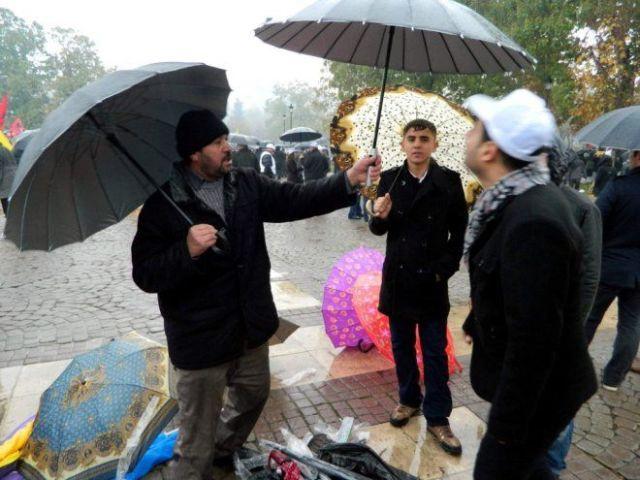 An umbrella seller in Istanbul