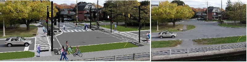 Before / after images of Clegg Street and Colonel By Drive intersection