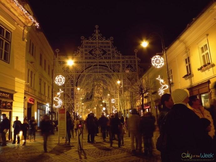 Christmas lights at the Sibiu Christmas Market