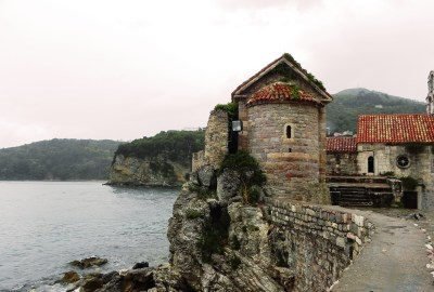 Old Town Walls of Budva next to the beach