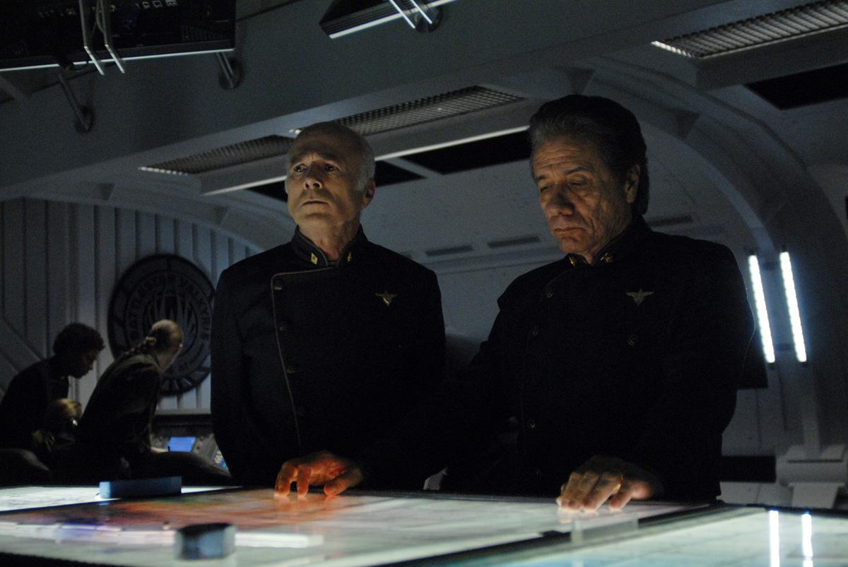 Tigh (Michael Hogan) and Adama (Edward Lee Olmos), SCI FI Channel Photo: Carole Segal